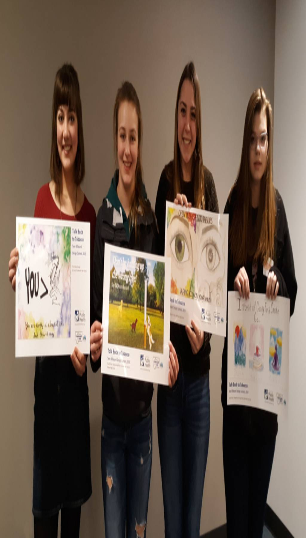 Winners of the 2019 Teen 'Talk Back to Tobacco' Billboard Design Contest: from left, Scout Lynde, Broadwater High School; Emmalee Madden, Helena High School; Josie Marks, Jefferson High School; and Ali Heimbach, Project for Alternative Learning