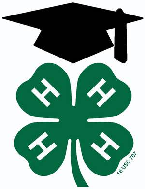 4-H clover with a graduation cap over it.
